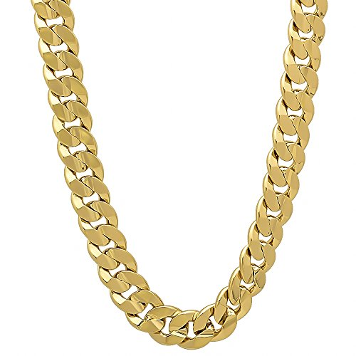 The Bling Factory Men's 6mm 14k Gold Plated Concave Cuban Link Curb Chain Necklace, 30