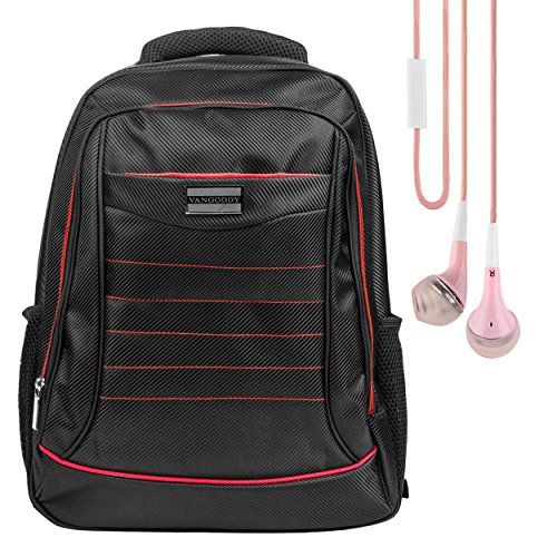 Vangoddy Water Resistant Zipper Padded Travel Backpack Satchel (Red) for Samsung Notebook 5 / 7 Spin / Odyssey Series 15.6' Laptop / Alcatel TCL Xess 17.3' / LeapFrog LeapPad 7' Tablet + Earphone