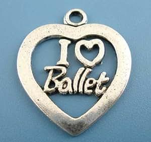 """Tienda de grano del encanto """"I Love ballet"""" chapado en plata colgante de para pulseras del encanto/collares: #885"""