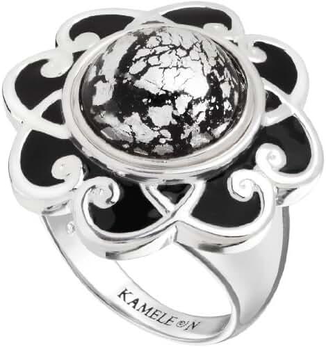 Kameleon Black Enamel Flower Scroll Ring Size 8 * Jewelpop Authentic Silver New KR009Bsize 8