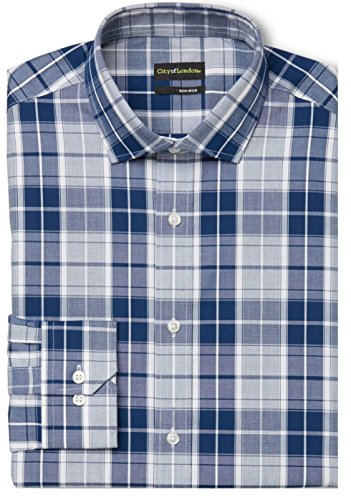 Petrol Plaid (City of London Men's Slim Fit Premium Non-Iron Dress Shirt (15.5