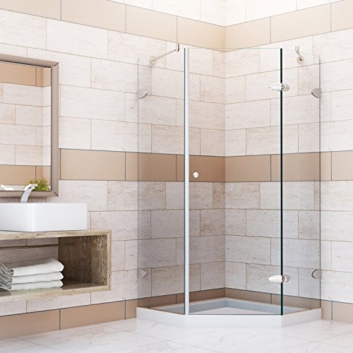 Neo Shower Doors (VIGO Verona 36 x 36-in. Frameless Neo-Angle Shower Enclosure with .375-in. Clear Glass and Brushed Nickel Hardware (Low-Profile Shower Base Included))