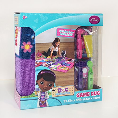 "Disney Junior Girls Toy Rug Carnival Doc McStuffins Toys Play Mat Bedding Game Rugs w/ Doctor's Play Set, 32""x44"""