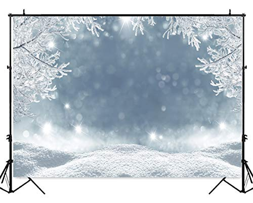Allenjoy 7x5ft Nature Winter Wonerland Snow Scenery Christmas Photography Backdrop and Studio Props White Bokeh Glitter Snowflake Tree Background Party Decoration Banner Photo Booth -