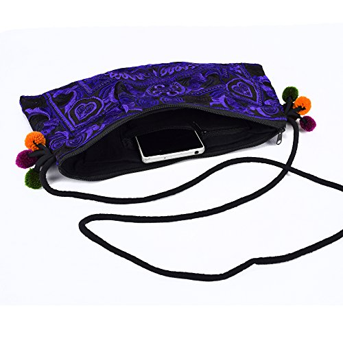 Clutch And Hill Lanna Purple Deep Embroidered Lanna Bird Shoulder Pom Bag Body Tribe Swingpack With Hmong Cross Purse Bag Design Boho Poms wtnq0T