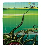 Chaoran 1 Fleece Blanket on Amazon Super Silky Soft All Season Super Plush Octopus Decor Collection Cartoon Monster Kraken Octopus with Giant Tentacles Underwater with aailor Retro Art Decor Fabric et