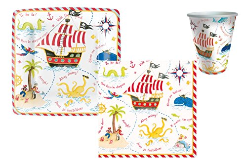 Pirate Theme Party Supply Pack! Bundle Includes Plates Napkins & Cups for 8 Guests in a Yo Ho Ho! Design -