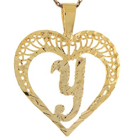 9ct Or Superbe Pendentif Coeur Avec Initial Lettre Y En Filigrane 2.92cm