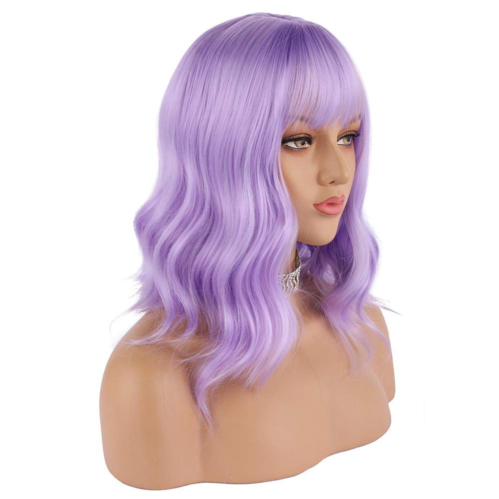 eNilecor Lavender Purple Wig Short Colorful Wavy Bob Wigs with Air Bangs 14'' Natural Wigs for Women by eNilecor
