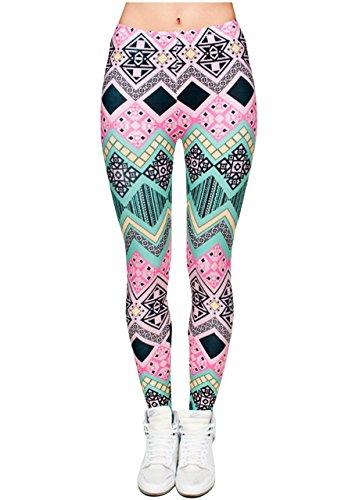 Ayliss Women Leggings Digital Print Yoga Skinny Pants High Waist Gym Elastic Tights,Pink & Green Geometric,L-XL ()