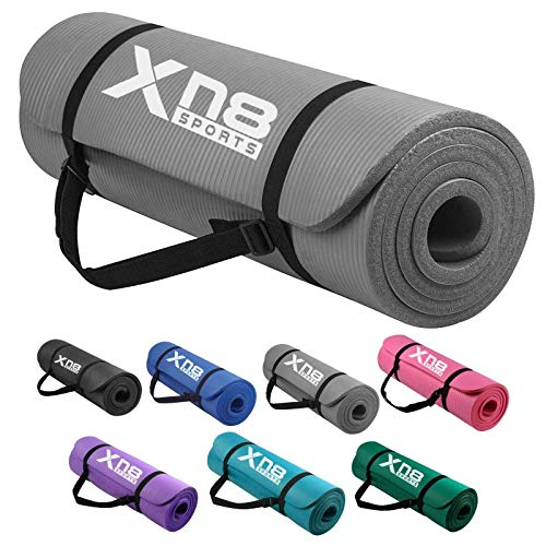 XN8 Padded Exercise Yoga Mat-NBR 15mm Thick with Carry Handle Strap for Pilates-Exercise-Aerobic-Gymnastics-home…