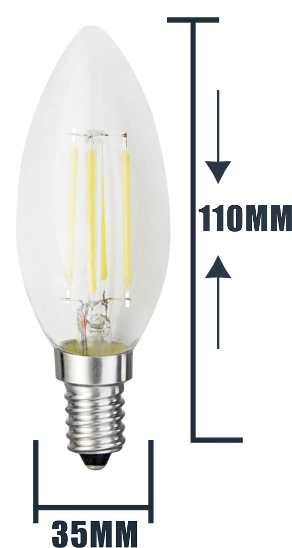 AC 110V-130V SES 40W Incandescent Bulbs Replacement Cool White 6500 Kelvin 400LM E14 Base Lamp 10-Pack Dimmable 4W LED Filament Light Clear Candle Bulbs C35 iRotYi