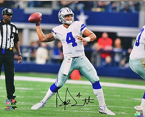 Dak Prescott Signed Autographed 16x20 Dallas Cowboys Throw Horizontal Photo (Autographed Dallas Cowboys 16x20 Photo)