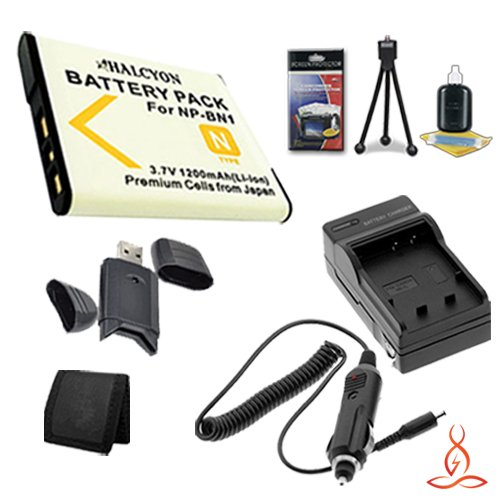 Halcyon 1200 mAH Lithium Ion Replacement NP-BN1 Battery and Charger Kit + Memory Card Wallet + SDHC Card USB Reader + Deluxe Starter Kit for Sony CyberShot DSC-W710, DSC-W730, DSC-WX80, DSC-TF1, DSC-TX66, DSC-TX30, DSC-T110, DSC-T99, DSC-TX5, DSC-TX7, DSC