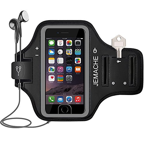 JEMACHE iPhone 6 7 8 Armband, Fingerprint Touch Supported Sports Jog/Run Exercise/Workout Gym Arm Band for iPhone 6 6S 7 8 with Key/Card Holder (Black)