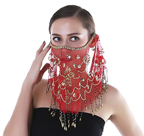 - Seawhisper Adult Belly Dance Sequins Tribal Face Veil With Beads Halloween Costume Accessory Red