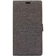 Alcatel A3 Plus Case, BasicStock Flip Case Premium PU Leather Back Cover [Card Slots] [Stand] Wallet Cover for Alcatel A3 Plus (Grey)