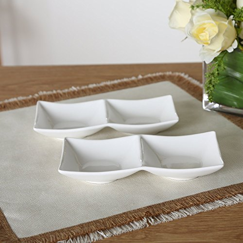 Solecasa white porcelain sauce dipping plate sushi dishes for Canape plate size