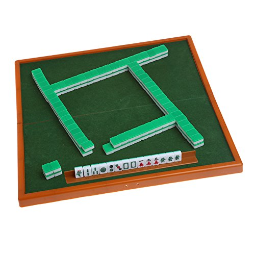Ireav Portable Mini Mahjong Set - Foldable Majiang Table Family Party Tiles Game - Mah Jongg Indoor Table Game - Mah-Jongg Travelling Entertainment