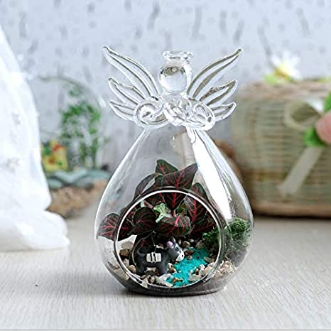 Set of 8 Sziqiqi Hanging Angel Ornaments Clear Glass Angel Ornaments for Wedding Party Home and Christmas Tree Decorations Angel Tealight Candle Holder