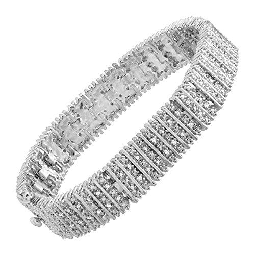 1 ct Diamond Box Tennis Bracelet in Sterling Silver-Plated Brass
