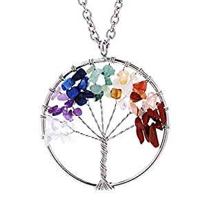 Eamaott Tree of life pendant Amethyst Rose Crystal Necklace Gemstone Chakra Jewelry Mothers Day Gifts