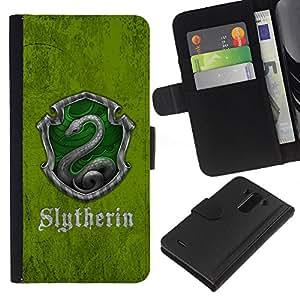 LECELL--Cuero de la tarjeta la carpeta del tirón Smartphone Slots Protección Holder For LG G3 -- Slytherin Escudo --