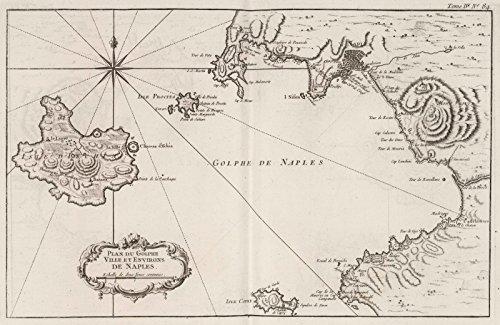 Chart Atlas | 1764 Plan du Golphe, Ville et Environs de Naples | Historic Antique Vintage Map Reprint