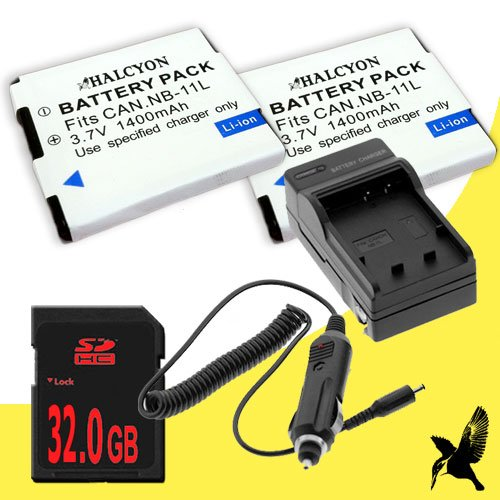 (Two Halcyon 1400 mAH Lithium Ion Replacement Battery and Charger Kit + 32GB SDHC Class 10 Memory Card for Canon PowerShot A4000 IS 16 MP Digital Camera and Canon)