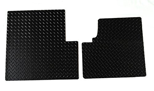Freightliner-Classic-XL-All-Weather-Black-Diamond-Plate-Rubber-Floor-Mats-2PC-Cab-by-WeatherFit-FRTCLASSICXL2BLK-1981-2010