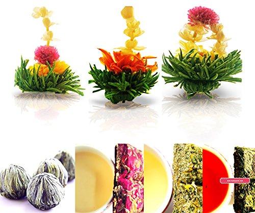 Tea Beyond Tea Samplers Assorted Gift Zen Flowering Tea 3 Packs Rose 20g Chamomile Herbal 20g Sweet Hibiscus Herbal Tea 20g Natural Vegan No Flavors Additives added White Blooming Tea Set ()