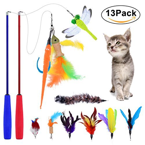 Cat Feather Teaser Toy, PetNLife 13pcs Retractable Cat Teaser Wand Toy Set, Interactive Feather Teaser Wand Toy for Cat, Included 2 Wands and 11 Refills Feathers by PetNLife