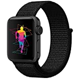 INTENY Sport Band for Apple Watch 42mm, Soft Lightweight Breathable Nylon Sport Loop Replacement Strap for iWatch Series 3, Series 2, Series 1, Hermes, Nike+, Edition (Dark black, 42mm)