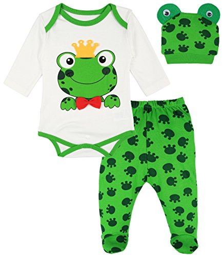 Lilax Baby Girl Fun Unique Soft Cotton Bodysuit, Cap, and Pant Layette 3 Piece Gift Set 6M Frog]()