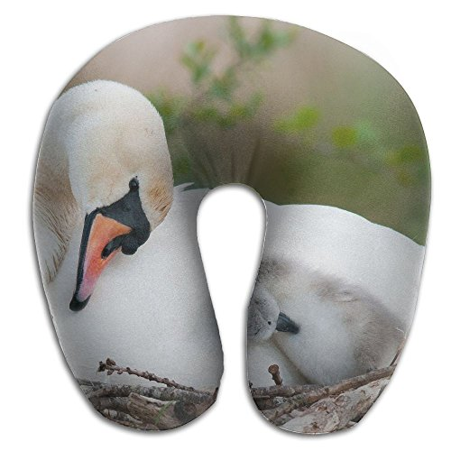 (BRECKSUCH White Swans Family Print U Shaped Pillow Memory Foam Neck Pillow For Travel And Relief Neck Pain Comfortable Super Soft Cervical Pillows With Resilient Material Relex)