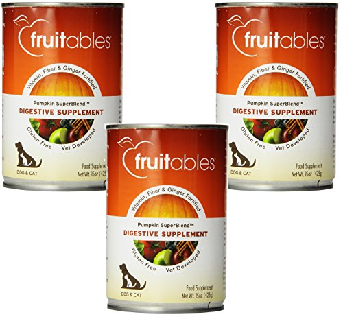 ((3 Pack) Fruitables Dog Digestive Supplement, Pumpkin, Fortified With Vitamins, Fiber and Ginger, 15 Ounce Cans)