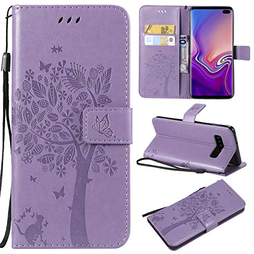 Price comparison product image Galaxy S10 Plus Case, Samsung S10 Plus Wallet Case, Galaxy S10 Plus Flip Case PU Leather Emboss Tree Cat Flowers Folio Magnetic Kickstand Cover with Card Slots for Samsung Galaxy S10 Plus Light Purple