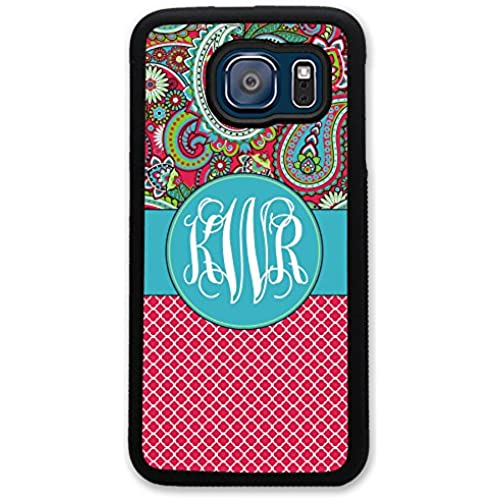 Samsung Galaxy S7 Case Paisley Red Lattice Quatrefoil Monogram - Monogrammed Personalized - Hard Rubber Case by Sales