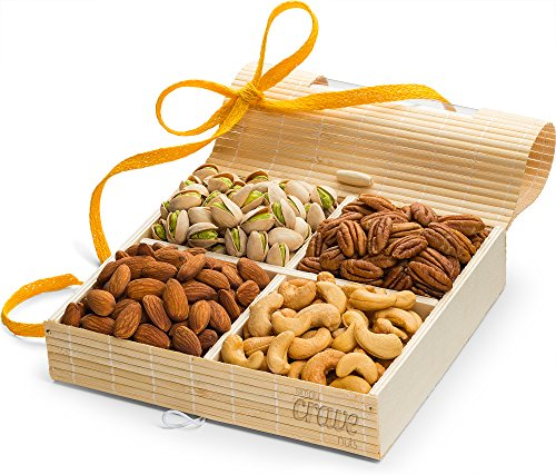 Holiday Gift Tray, 4 Sectional Nuts Gift Box with Stunning Presentation - Gourmet Christmas Gift Baskets by Simply Crave