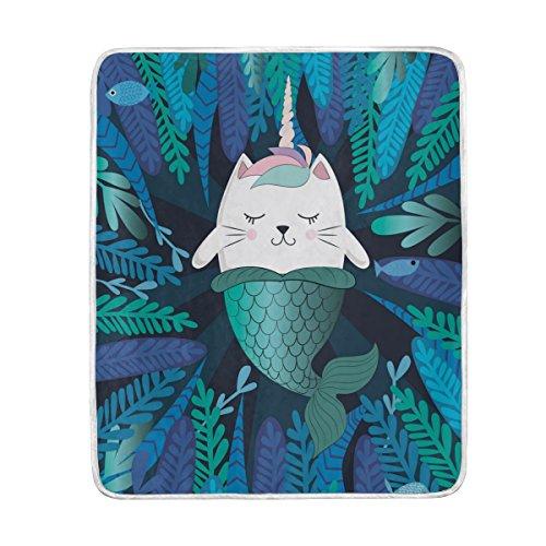 ALAZA Mermaid Cat Kitty Unicorn Plush Throws Siesta Camping