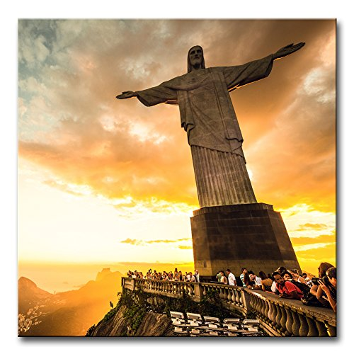 Wall Art Decor Poster Painting On Canvas Print Pictures Christ The Redeemer Statue At The Top Of Corcovado Mountain In Rio De Janeiro Portrait Statue Framed Picture For Home Decoration Living Room Artwork ()
