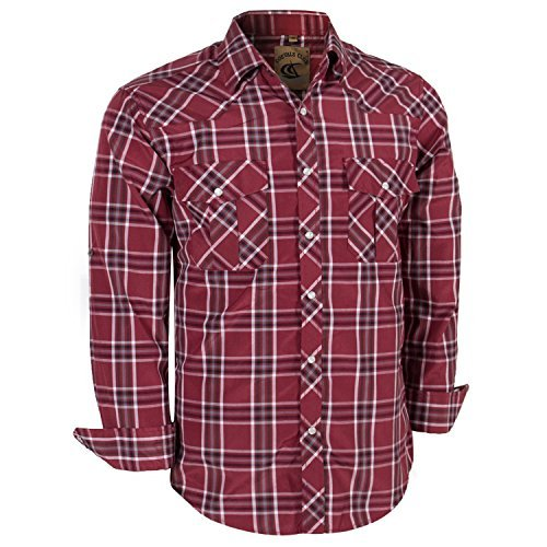 (Coevals Club Men's Long Sleeve Casual Western Plaid Buttons Shirt (L, 8#red,White) )