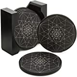 """Coasters for Drinks Absorbent - Ceramic Stone Coaster Set of 6 with Holder - Cup Coasters with Anti Scratch Cork Backing - Large Size 4.3"""" Table Black Modern Cool Coasters - Suit all Types of Glasses"""