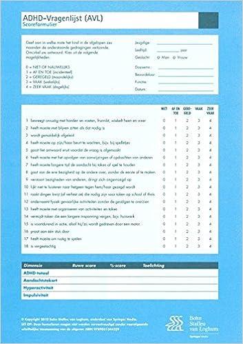 Amazon.com: ADHD-vragenlijsten AVL: Formulieren (set van 50 ...
