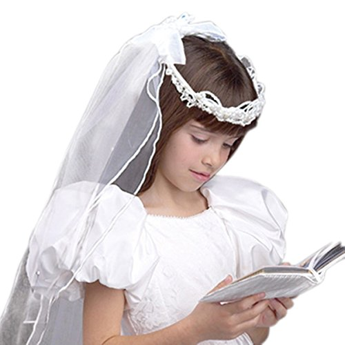 Girls First Communion White Tulle Veil with Beaded Crown and Satin Bow and Floral Details, 21 Inch Detail Bow