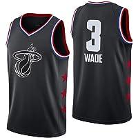 Shelfin - Camiseta de baloncesto de la NBA de Miami Heat del número 3 Wade, transpirable, grabada, color Negro C, tamaño…