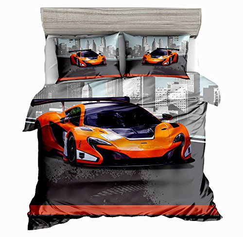(SxinHome Orange Speed Sport car Bedding Set for Teen Boys, Duvet Cover Set,3pcs 1 Duvet Cover 2 Pillowcases(no Comforter inside), Twin Size)