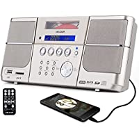 VELOUR Portable cd player gold Boombox with FM Radio Clock USB SD and Aux Line-In for kids