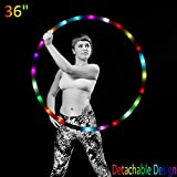 LED Hula Hoop Weighted Dance & Fitness Glow Light Up Hoola Hoops for Adults and Kids, 24 Color Strobing Changing LED Light, 8 Section Detachable Design, Portable Hula Hoops 36'' (batteries not include)