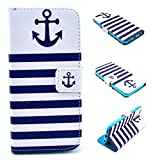 Iphone 6S Case,Iphone 6 Case, Kmety Blue Anchor Portrait Graphic Magnetic Snap Wallet Flip PU Leather With Stand Cover Case for Apple Iphone 6/6S